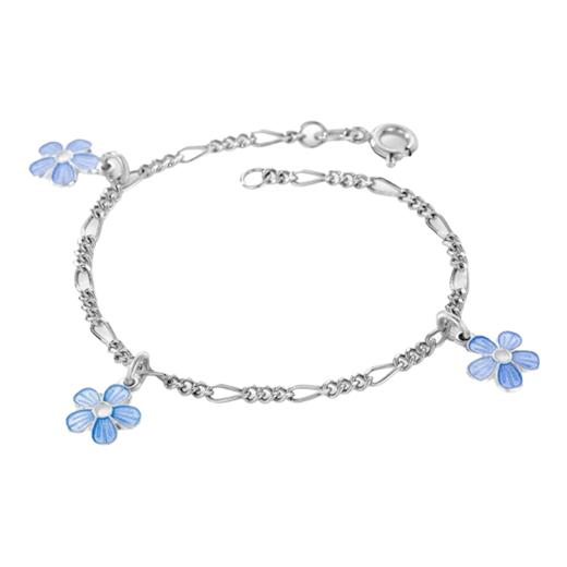 Image of Armbånd m. 3 lyseblå blomster - Pia & Per (3237)