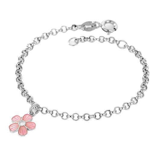 Image of Armbånd, lyserød blomst - Pia & Per (3241)