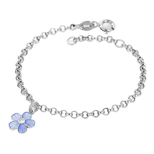 Image of Armbånd, lyseblå blomst - Pia & Per (3242)