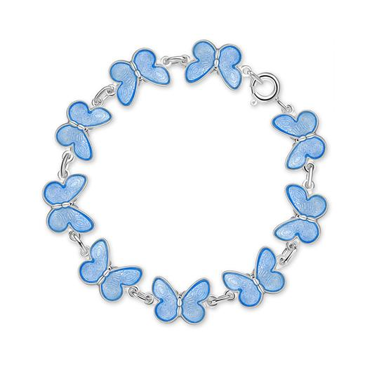 Image of Armbånd med lyseblå sommerfugle - Pia & Per (3038)