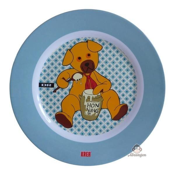 Billede af Flad tallerken med Bamse, blå - Krea