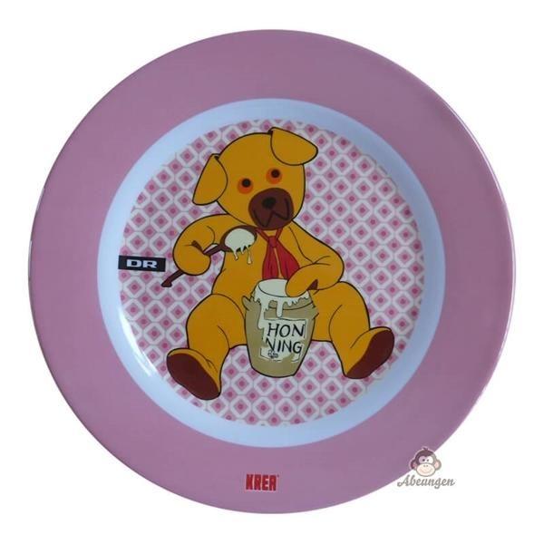 Flad tallerken med Bamse, lyserød - Krea