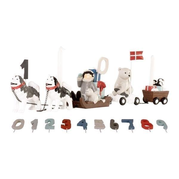 """Image of   Fødselsdagstog """"Hundeslæde"""", inkl. tal og flag - KIDS by FRIIS"""