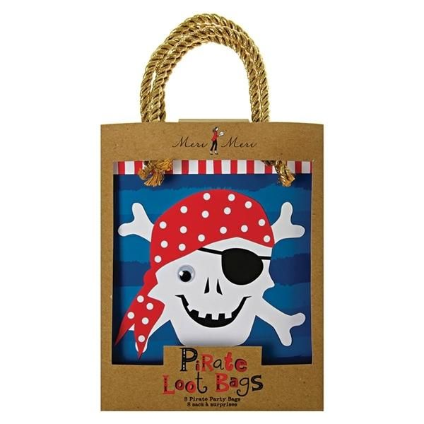 Pirat party bags, 8 stk. - Meri Meri
