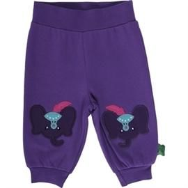 Sweatpants med lilla elefant, str. 68 - Freds World